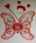 Motýlí křídla červená s doplňky - karneval