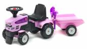Odrážedlo traktor Baby Princess s 2 kolovým valníkem, nářadím