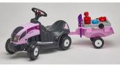 Odrážedlo traktor Baby Princess s 2 kolovým valníkem, sadou nářadí velký