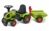 Odrážedlo traktor Baby Claas Axos 310 s 2 kolovým valníkem, nářadím