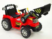 Elektrický traktor s ovladatelnou lžící 12V červený