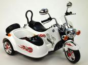 Elektrická motorka se sajdkárou, 12V bílá