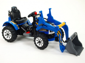 Elektrický traktor Kingdom s ovladatelnou nakládací lžící modrý
