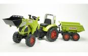 Šlapací traktor Claas Arion 540 s funkční přední lžící, valníkem-zelený