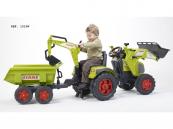 Šlapací traktor Claas Axos 330 se 2 funkčními lžícemi, valníkem