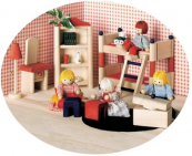 Nábytek pro panenky - dětský pokoj s dekoracemi
