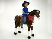 Kůň hnědák s černou hřívou a ocasem na hraní a sezení