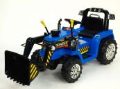 Elektrický traktor s ovladatelnou lžící 12V modrý