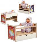 Dřevěná postýlka - kolébka pro panenky