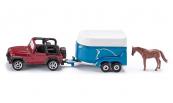 SIKU Jeep Wrangler s přívěsem pro převoz koní