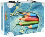 Kufřík Barevné tužky Jeans střední okovaný