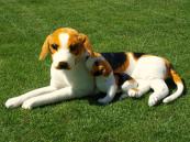 Plyšový Bígl se štěnátkem