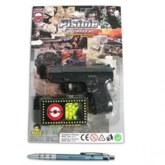 Pistole s kuličkami na kartě