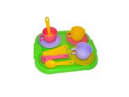 Dětská jídelní souprava Minutka pro 3 osoby s tácem