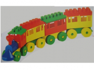 Stavebnice Stavitel - mašinka a 3 vagóny