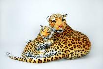Plyšová leopardí máma s mládětem