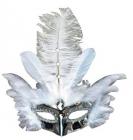 Škraboška stříbrná s peřím - karneval