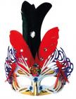 Škraboška zlatorůžová s peřím - karneval