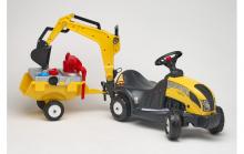 Odrážedlo traktor Baby Constructor s funkční zadní lžící, 2 kolovým valníkem, sadou nářadí