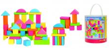 Stavebnice kostky v kyblíku pastelové - sada 75 ks