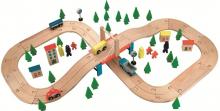 Dřevěná autodráha 68 dílků - Bino