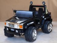 Elektrické auto džíp Humvy dvoumístný s dálkovým ovládáním, nákladovým prostorem, FM rádiem, MP3, 2x posuvná sedačka 25 cm, 12V, černé