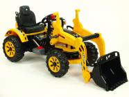 Elektrický traktor Kingdom s ovladatelnou nakládací lžící žlutý