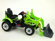 Elektrický traktor Kingdom s ovladatelnou nakládací lžící zelený