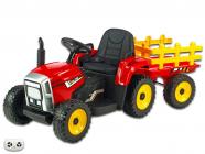 Elektrický traktor rozkošný s vlekem červený