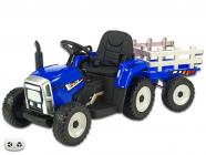 Elektrický traktor rozkošný s vlekem modrý