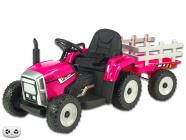 Elektrický traktor rozkošný s vlekem růžový