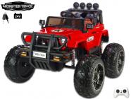 Elektrické auto 24V džíp Wrangler Monster Truck s 2,4G, na obrovských kolech, 2x200W/24V, červený
