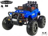 Elektrické auto 24V džíp Wrangler Monster Truck s 2,4G, na obrovských kolech, 2x200W/24V, modrý