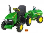 Elektrický traktor Hello s cisternovým vlekem a stříkačkou, 2,4G, gumovými nafukovacími koly, zelený
