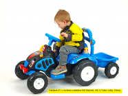Elektrický traktor s vlekem a nářadím pro začínající, s vlastním olepením nálepek, modrý