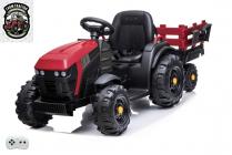 Elektrický Farmářský traktor s 2,4G, vlekem a lopatou, červený