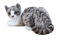 Plyšová ležící kočka Micka domácí, délka 43 cm