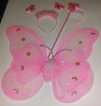 Motýlí křídla růžová s doplńky - karneval