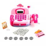 Dětská pokladna s mikrofonem a skenerem (růžová)