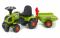Odrážedlo traktor Baby Claas Axos 594 s 2 kolovým valníkem, nářadím