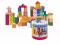 Stavebnice kostky barevné, s potiskem, 50 dílů